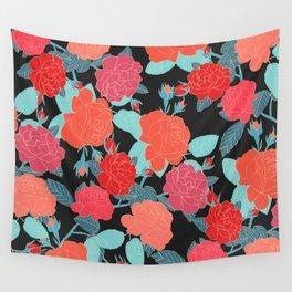 Rose Garden - Dark Wall Tapestry