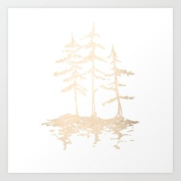 Three Sisters Forest White Gold Trees Art Print