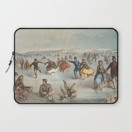 Vintage Central Park Ice Skating Painting (1861) Laptop Sleeve