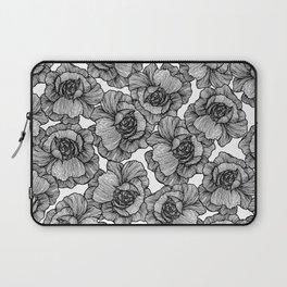 Elegant Black and White Modern Line Art Flowers Laptop Sleeve