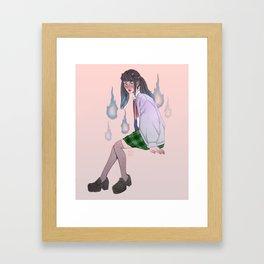oni girl with onibi Framed Art Print