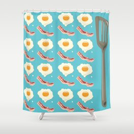 bacon & eggs, blue Shower Curtain