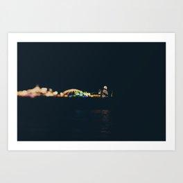Brighton pier all lit up at night ... Art Print