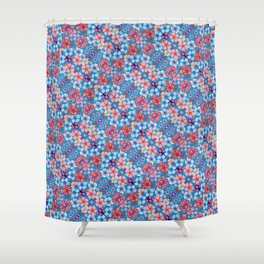 Blue Cascading Floral Chirimen Shower Curtain