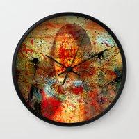 da vinci Wall Clocks featuring Leonardo da Vinci Abstract  by  Agostino Lo Coco