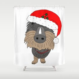 Hugo the Santa dog Shower Curtain