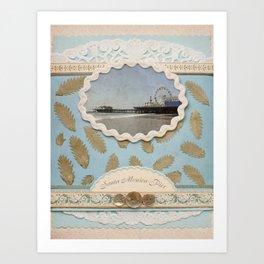 Vintage Santa Monica Pier faux Scrapbooking Design Art Print