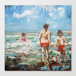 Playing children in the sea Canvas Print