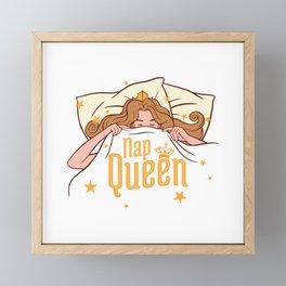 Nap Queen under cozy blanket Framed Mini Art Print