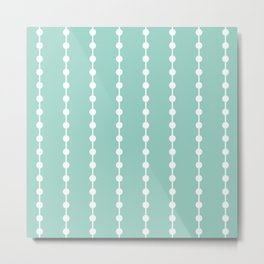 Geometric Droplets Pattern Linked - Pastel Green and White Metal Print