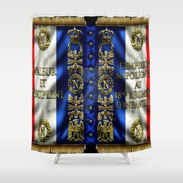 Vintage 18th Regiment French Battle Flag of Napoleon III Shower Curtain