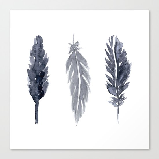 Black watercolor feathers Canvas Print