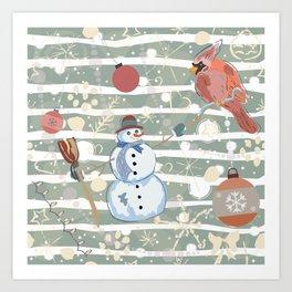 Winter Snowman and Cardinal Art Print