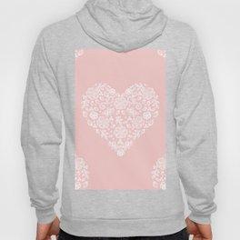 Millennial Pink Blush Rose Quartz Hearts Lace Flowers Pattern Hoody