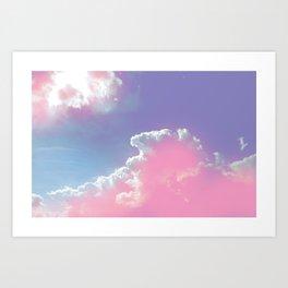 pink fluffy clouds Art Print