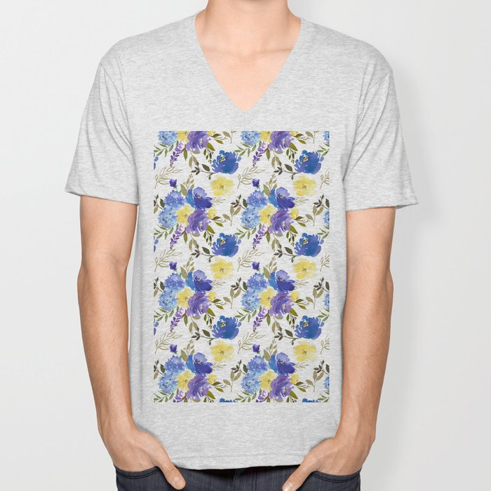 Pastel yellow blue lavender watercolor elegant floral Unisex V-Neck