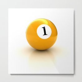yellow pool billiard ball number 1 one Metal Print