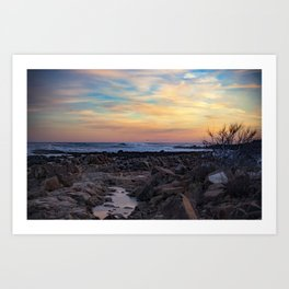 Winter Sunset at Bassrocks Art Print