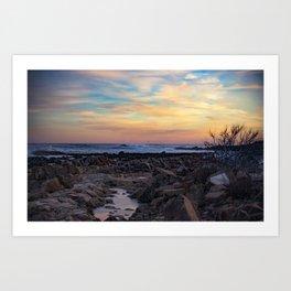 Winter Sunset at Bassrocks Art Print