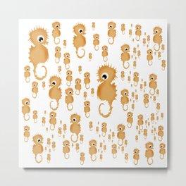 Sea horses Pattern Metal Print
