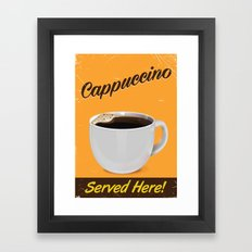cappuccino vintage advertisement poster. Framed Art Print