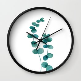 green eucalyptus watercolor Wall Clock