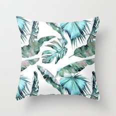 Tropical Palm Leaves Blue Green on White Throw Pillow