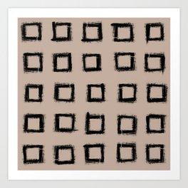 Square Stroke Dots Black on Nude Art Print