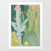 cacti Art Prints featuring Cacti by Julia Walters Illustration