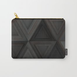 Pattern of grey triangle prisms with orange glowing lines Carry-All Pouch