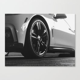 Black Rim Sports Car // White Paint Street Level B&W German Bavarian Motor Automobile Photograph Canvas Print