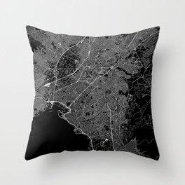 Athens Black Map Throw Pillow