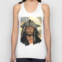 jack sparrow Tank Tops featuring Captain Jack Sparrow by marysiak