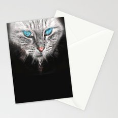 Silver Abstract Cat Face with blue Eyes Stationery Cards