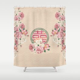 Watercolor Double Happiness Symbol with  Peony flowers Shower Curtain