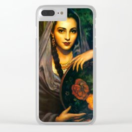 Jesus Helguera Painting of a Calendar Girl with Dark Shawl Clear iPhone Case