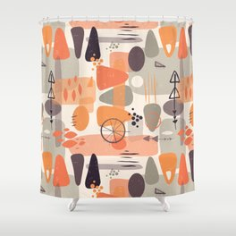 Mid Century Shapes Pattern Orange Shower Curtain