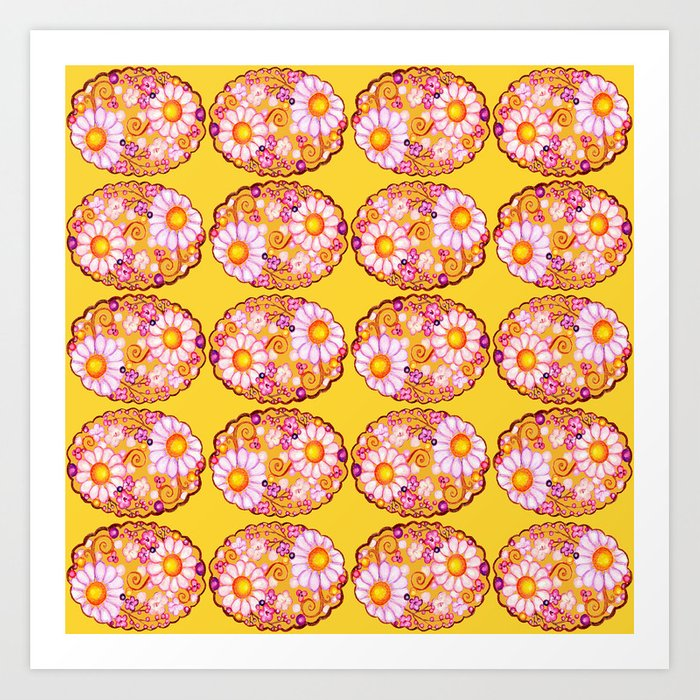 Floral Scalloped Oval in Purples, Browns and Mustard Yellow Art Print