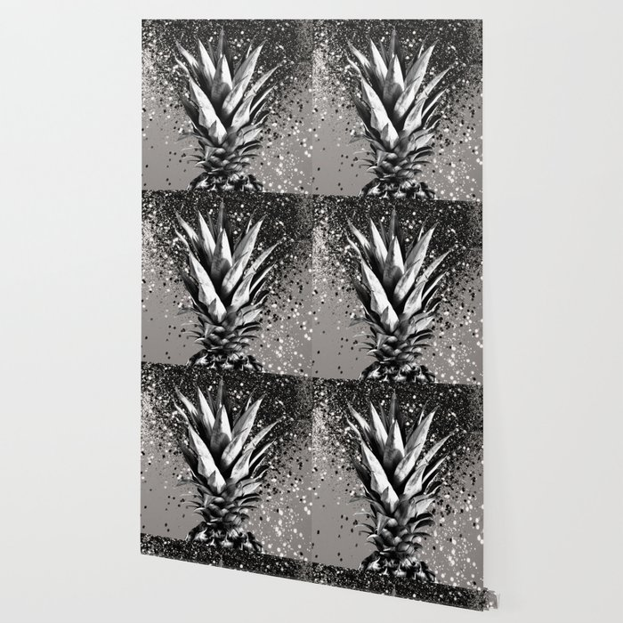 Pineapple Silver Gray Glitter Glam #1 #tropical #fruit #decor #art #society6 Wallpaper