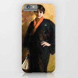 The Blue Kimono by William Merritt Chase - Vintage Victorian Retro Fine Art Oil Painting iPhone Case