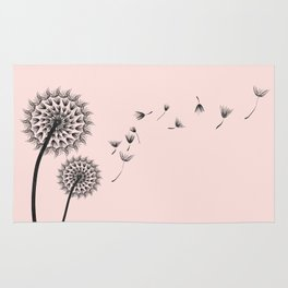 Contemporary Dandelion Flying Seedheads Drawing Rug