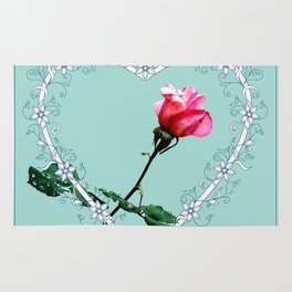 Heart with pink rose Rug