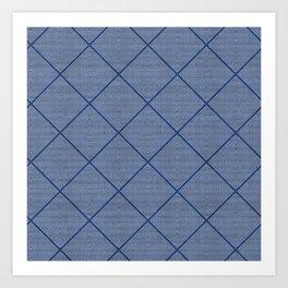 Stitched Diamond Geo in Blue Art Print