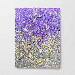 Chalk Dust Confetti Purple and Yellow Metal Print