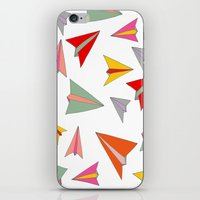 airplanes iPhone & iPod Skins featuring Paper airplanes pattern by Isabelle Debionne