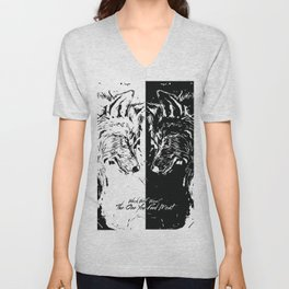 The Battle Within 2 Wolf Cherokee Legend Two Wolves Quote 'which wolf wins?' Unisex V-Neck