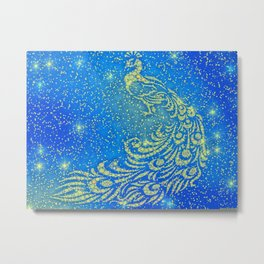 Sparkling Blue & Yellow Peacock Metal Print