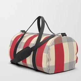 Red Striped Plaid Duffle Bag