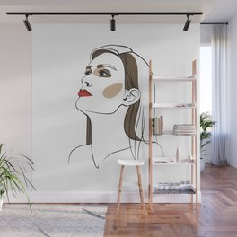Woman with long hair and red lipstick. Abstract face. Fashion illustration Wall Mural