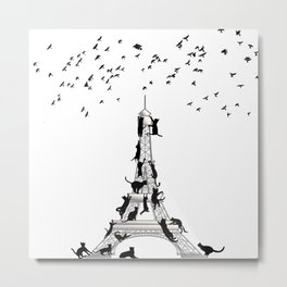 Cats Climb Tower For Birds Metal Print